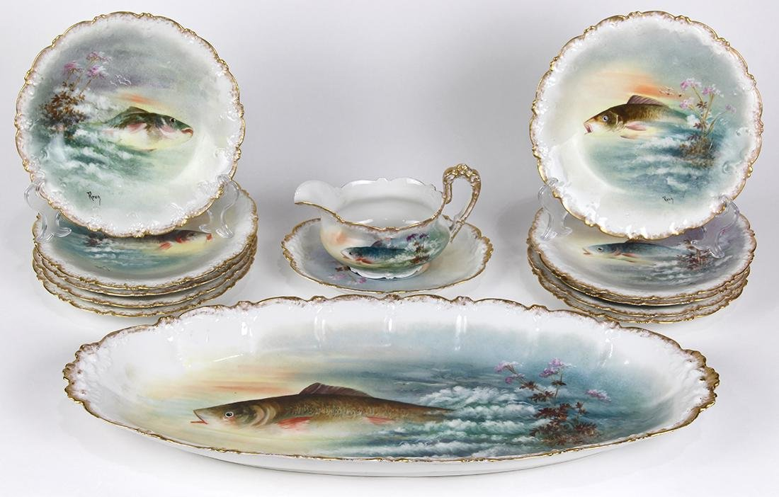 (lot of 13) Limoges hand painted porcelain fish service