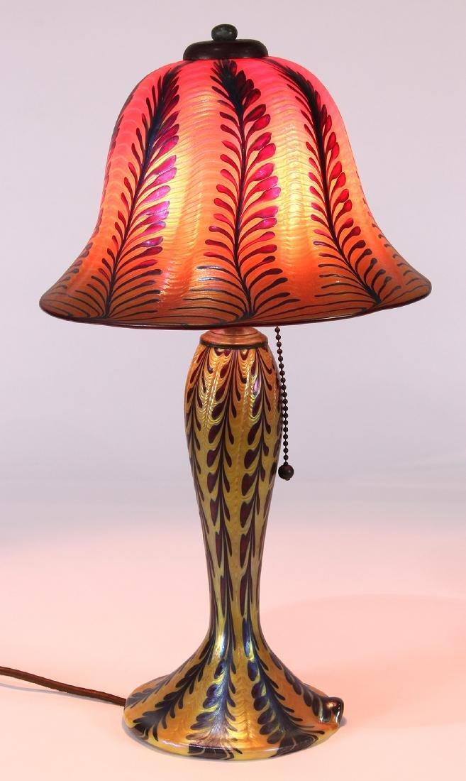 Lundberg Studios iridescent art glass lamp