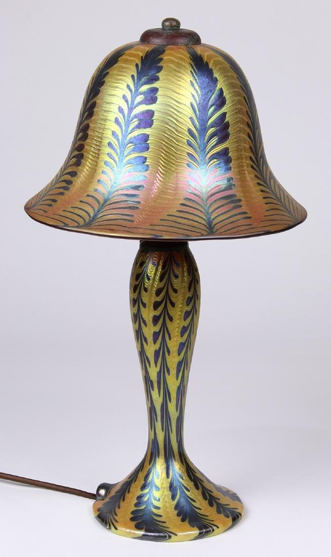 Lundberg Studios iridescent art glass lamp - 2