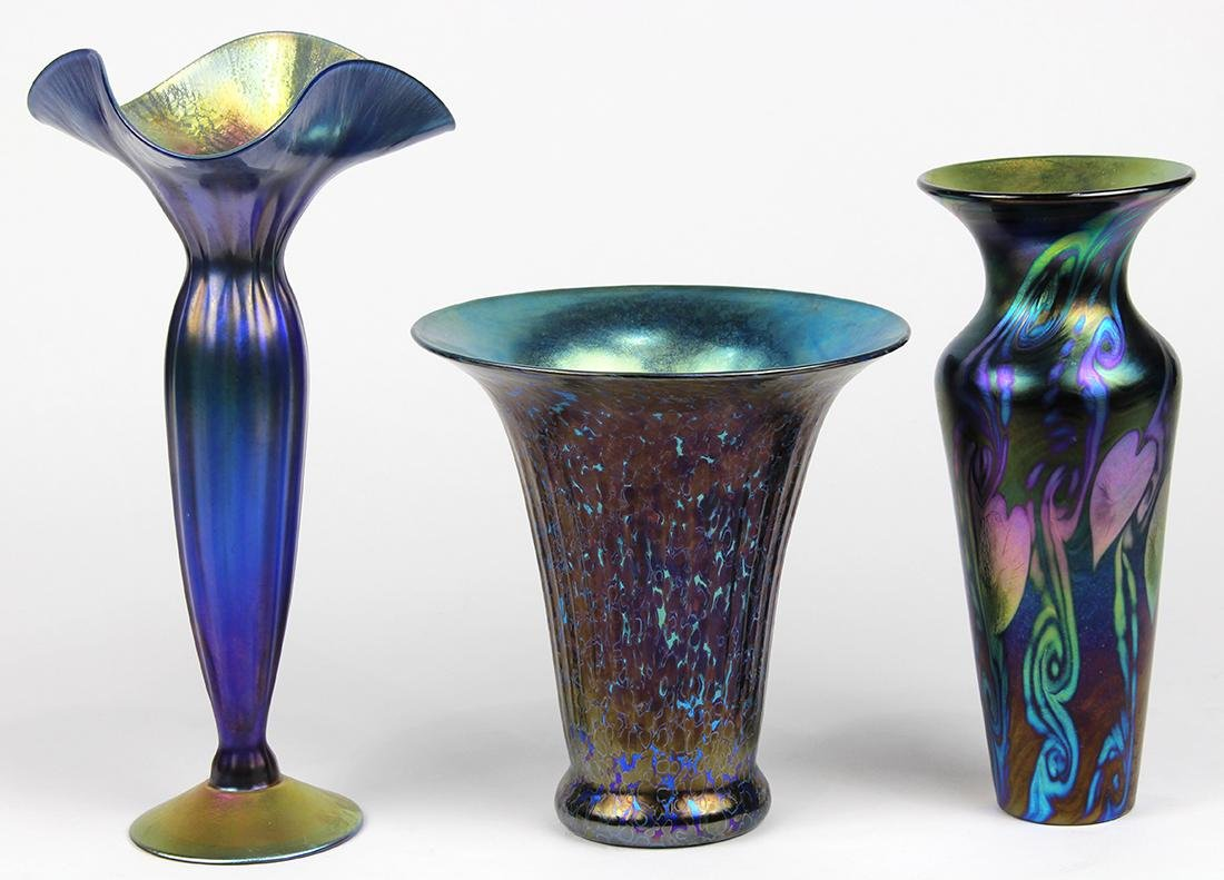 (Lot of 3) Lundberg Studios art glass group