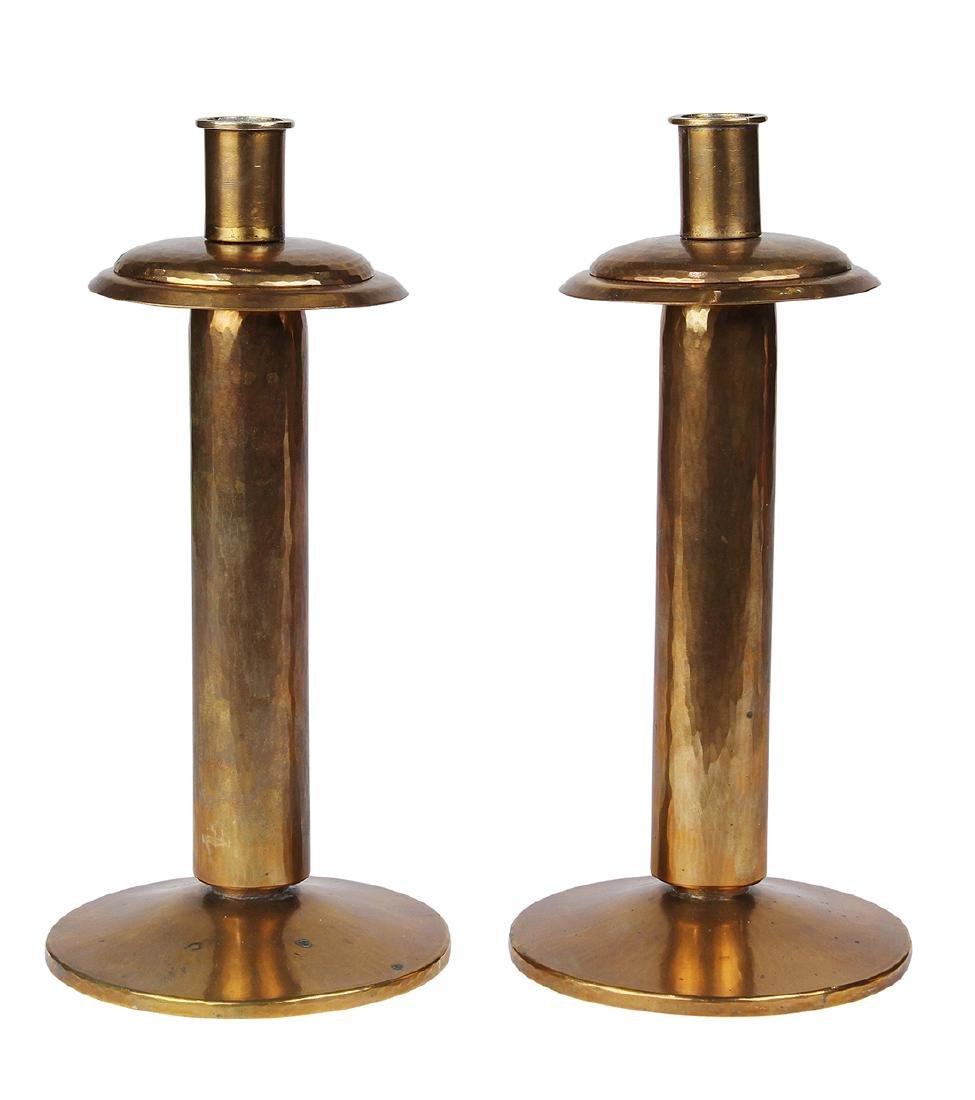 (lot of 2) Dirk Van Erp Art Deco hammered copper