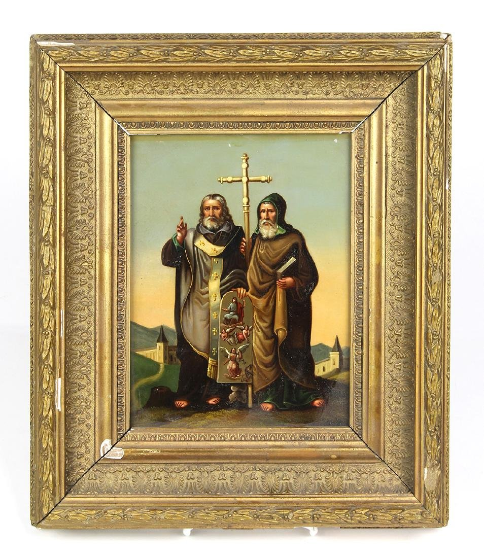 Slavic school, oil on metail, depicting St. Cyril