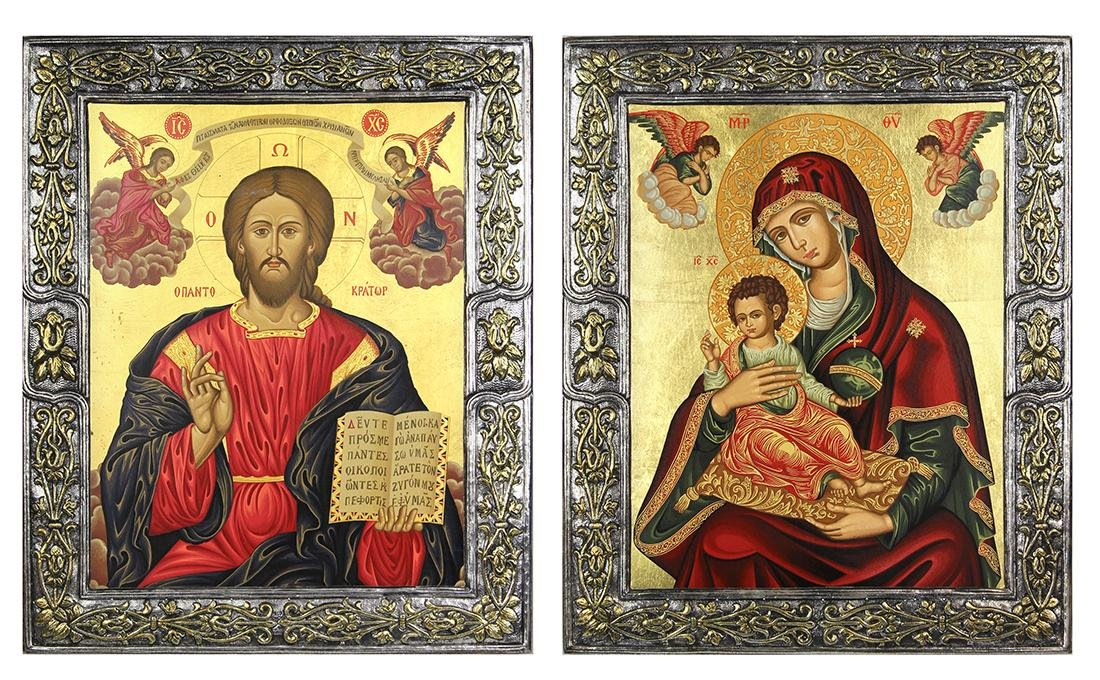 (lot of 2) Byzantine style icons, one depicting the