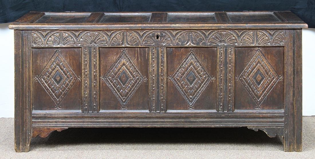 English oak coffer circa 1780 - 3