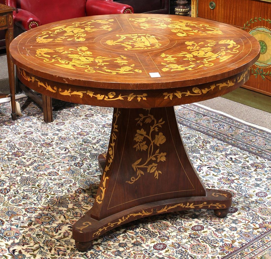 Biedermeier style inlaid center table, having a