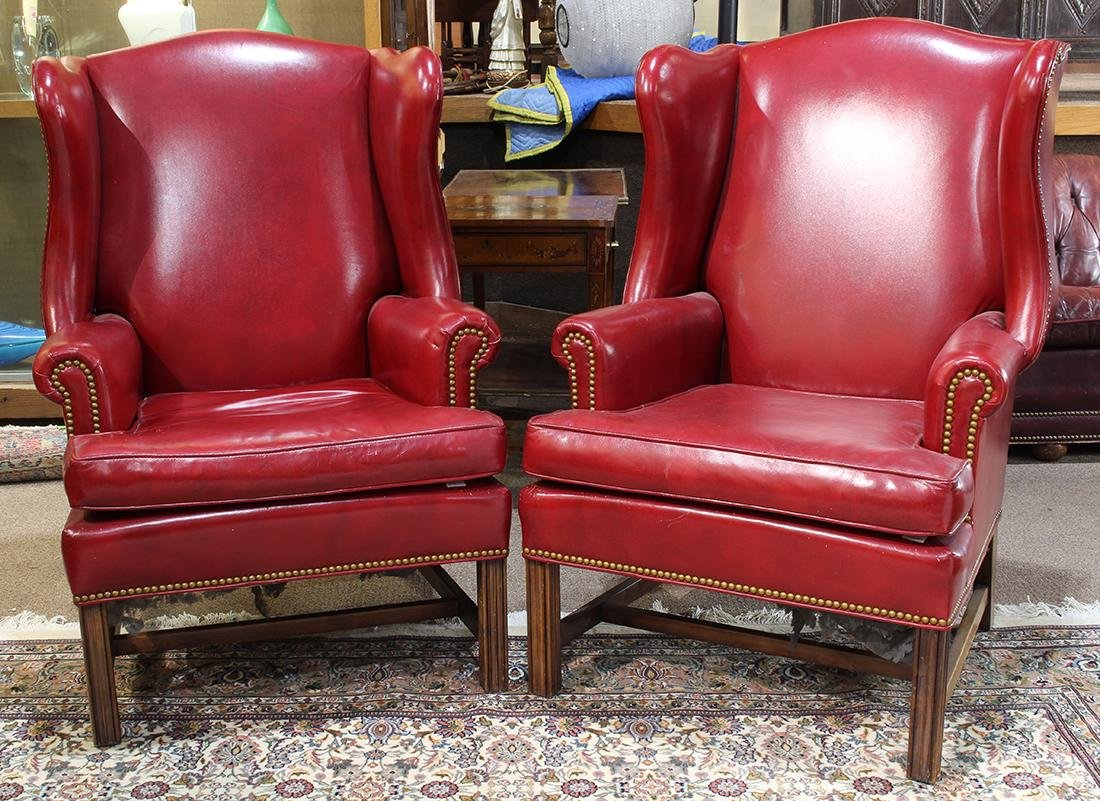 Pair of Georgian style wing back lounge chairs, each