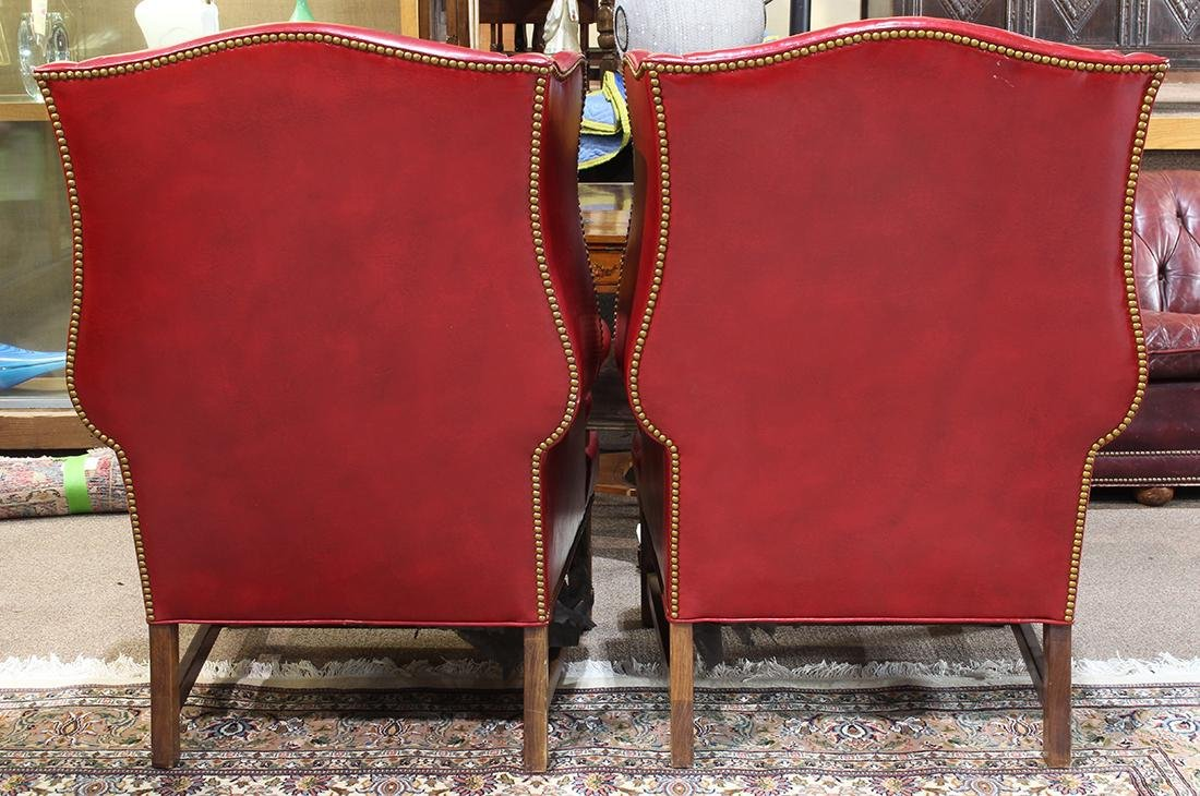 Pair of Georgian style wing back lounge chairs, each - 2