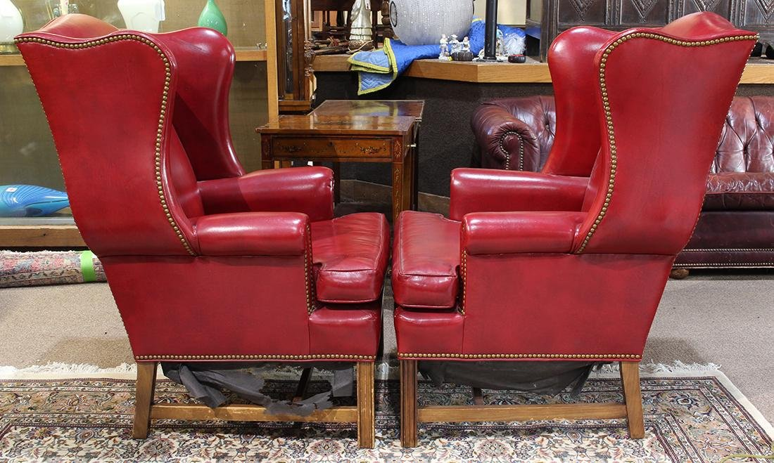 Pair of Georgian style wing back lounge chairs, each - 4