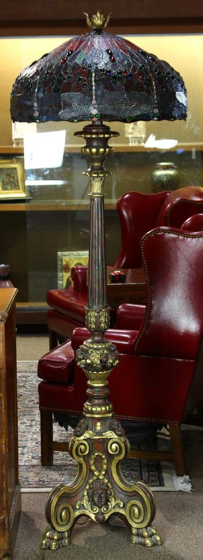 Tiffany style leaded glass floor lamp - 2