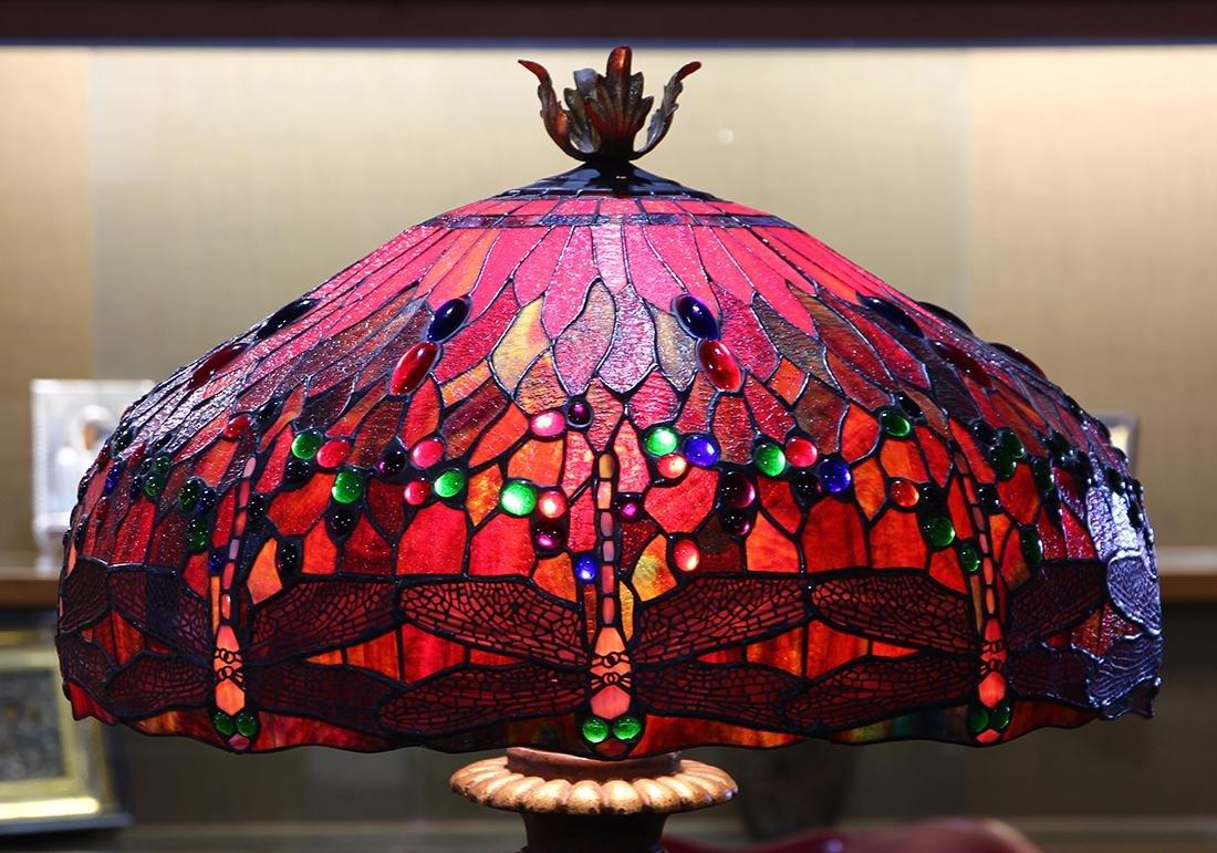 Tiffany style leaded glass floor lamp - 3