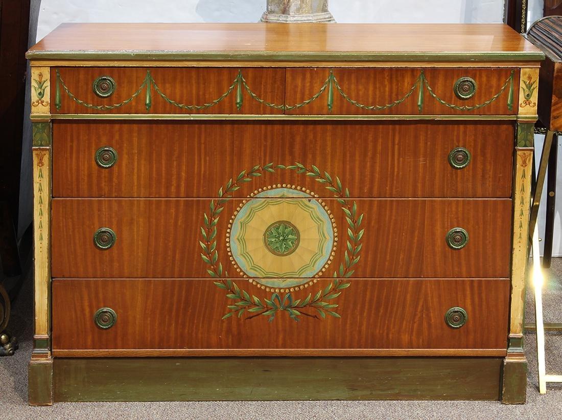 English painted satinwood commode