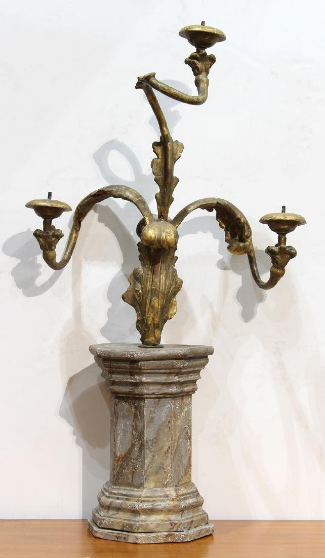 Continental giltwood carved candelabra