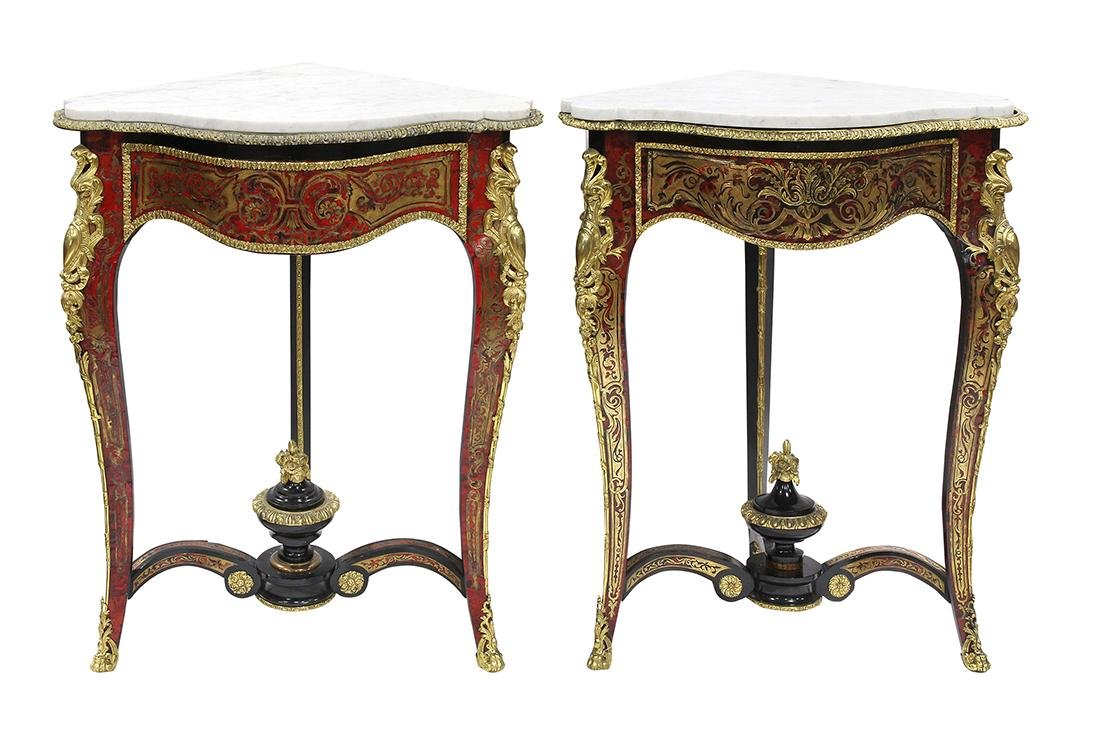 Pair of French boulle style corner tables, having a