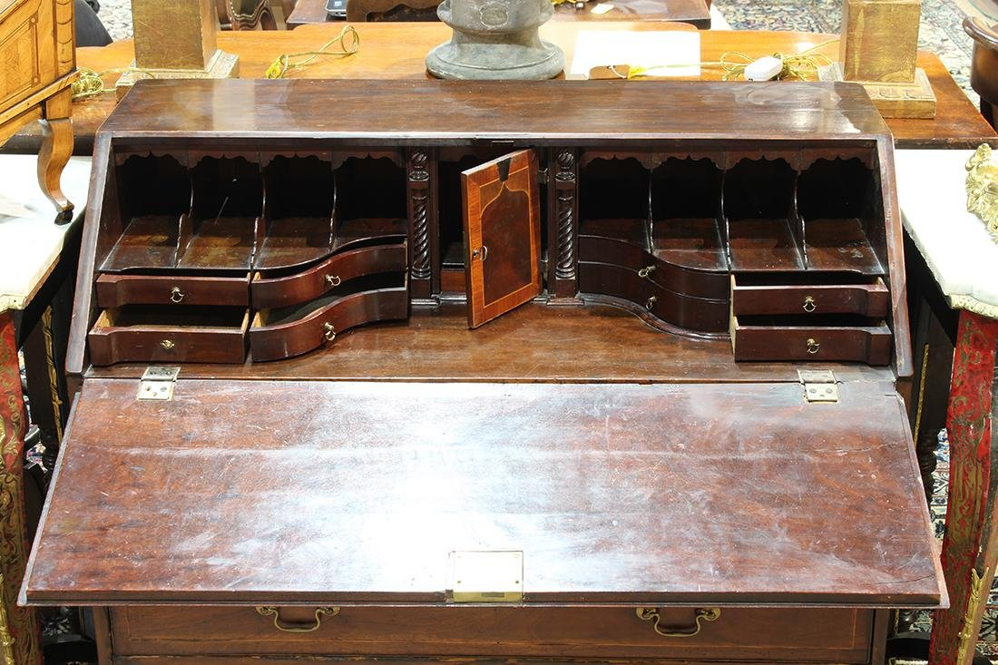 George III inlaid mahogany slant front desk - 3
