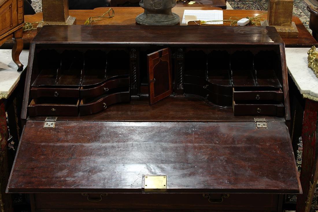 George III inlaid mahogany slant front desk - 4