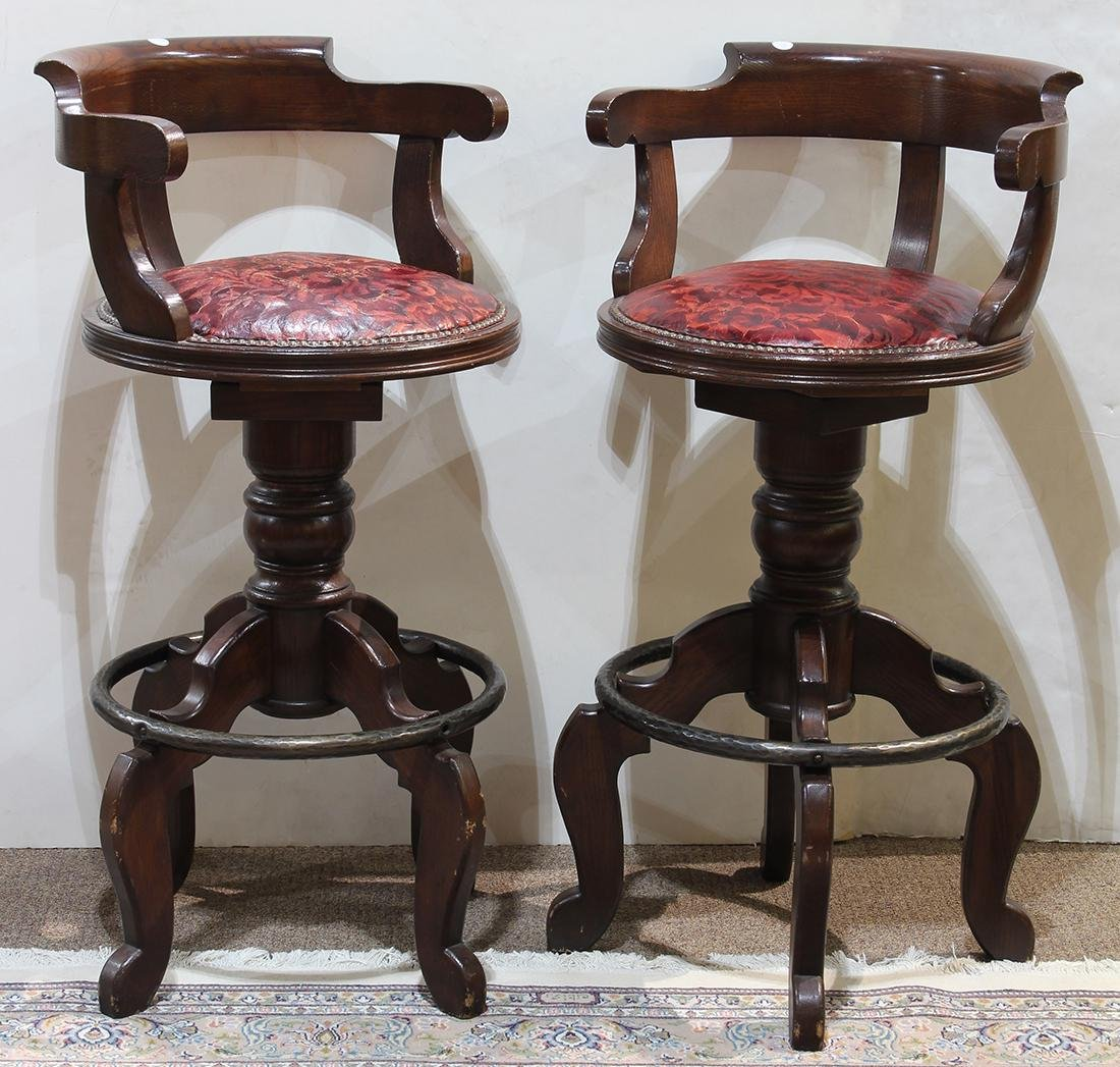 Pair of mahogany captains chair bar stools