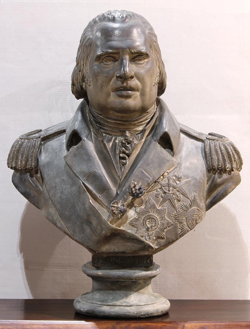 French polychrome plaster bust after François Joseph