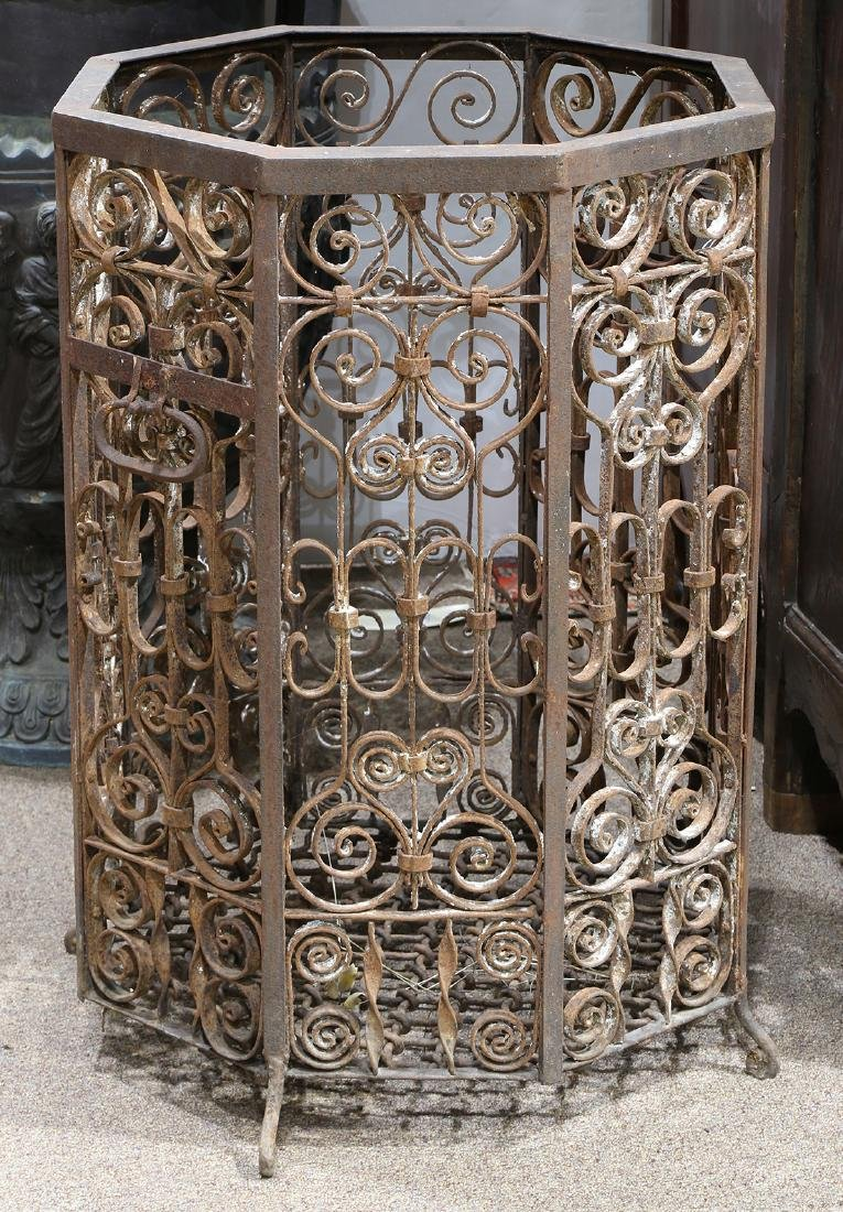 (lot of 2) Wrought iron jardinières, each having an