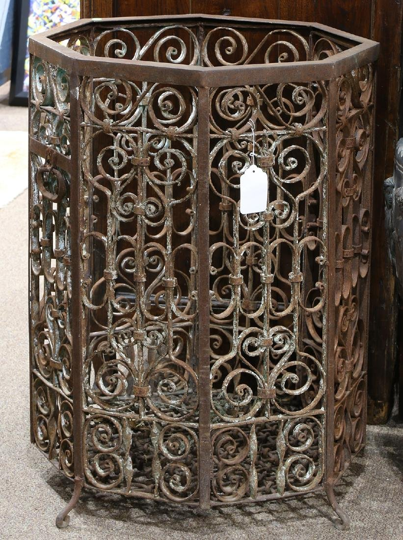 (lot of 2) Wrought iron jardinières, each having an - 2