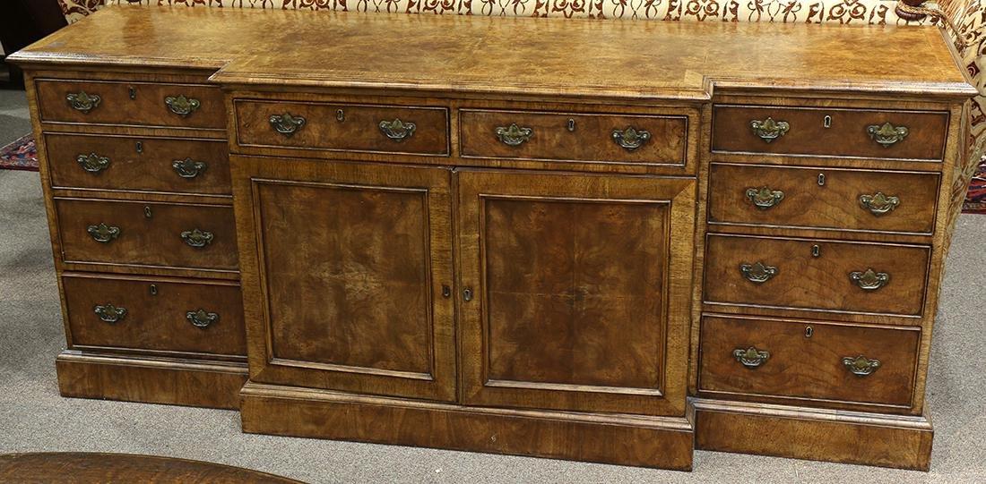 George III style walnut breakfront burlwood sideboard,