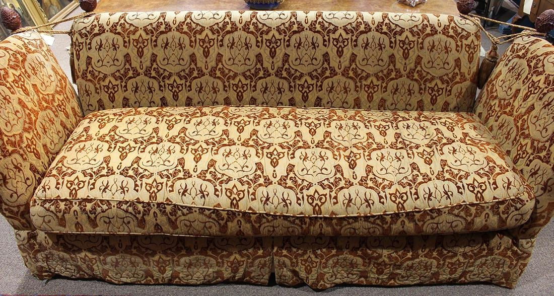 Knole sofa, the contoured profile upholstered in beige, - 2