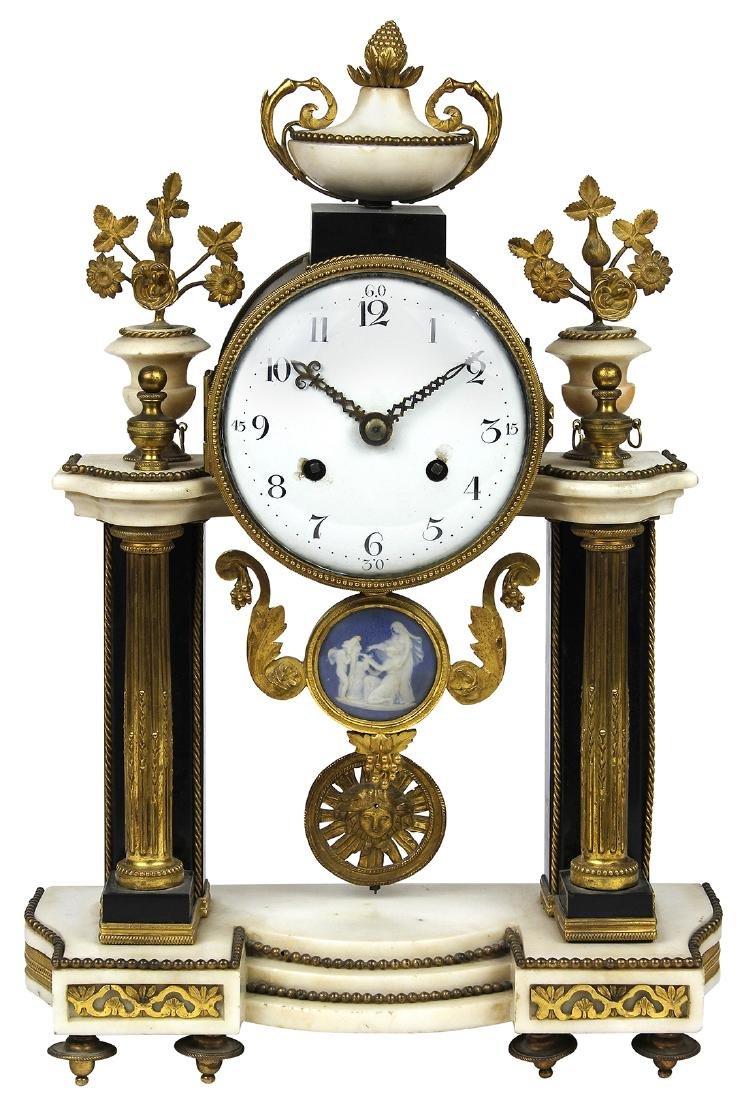 Louis XVI ormolu mounted portico clock, second half