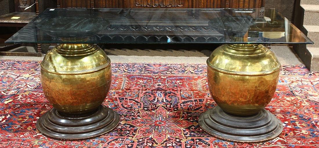 Large double pedestal table