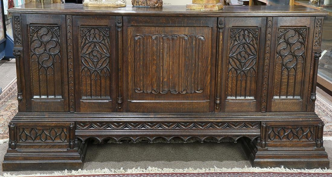 Gothic Revival carved quartersawn oak sideboard, circa