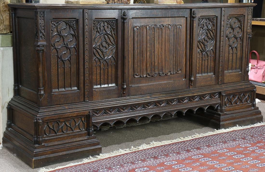 Gothic Revival carved quartersawn oak sideboard, circa - 2