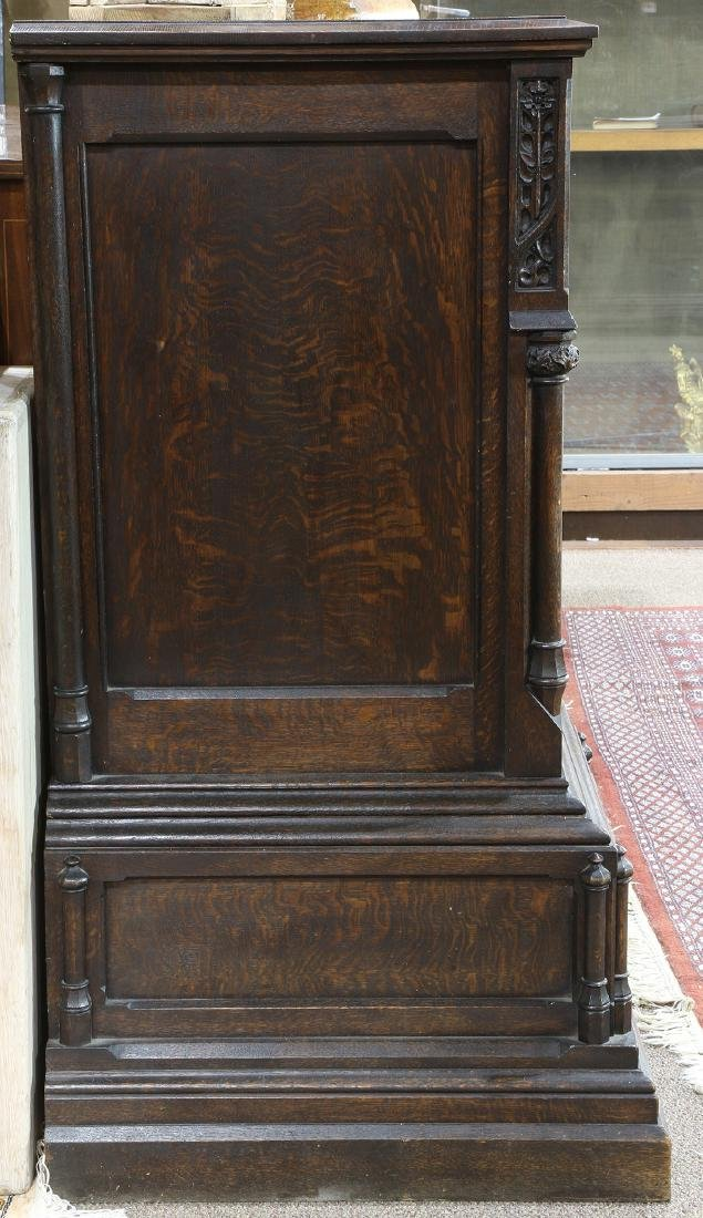 Gothic Revival carved quartersawn oak sideboard, circa - 3
