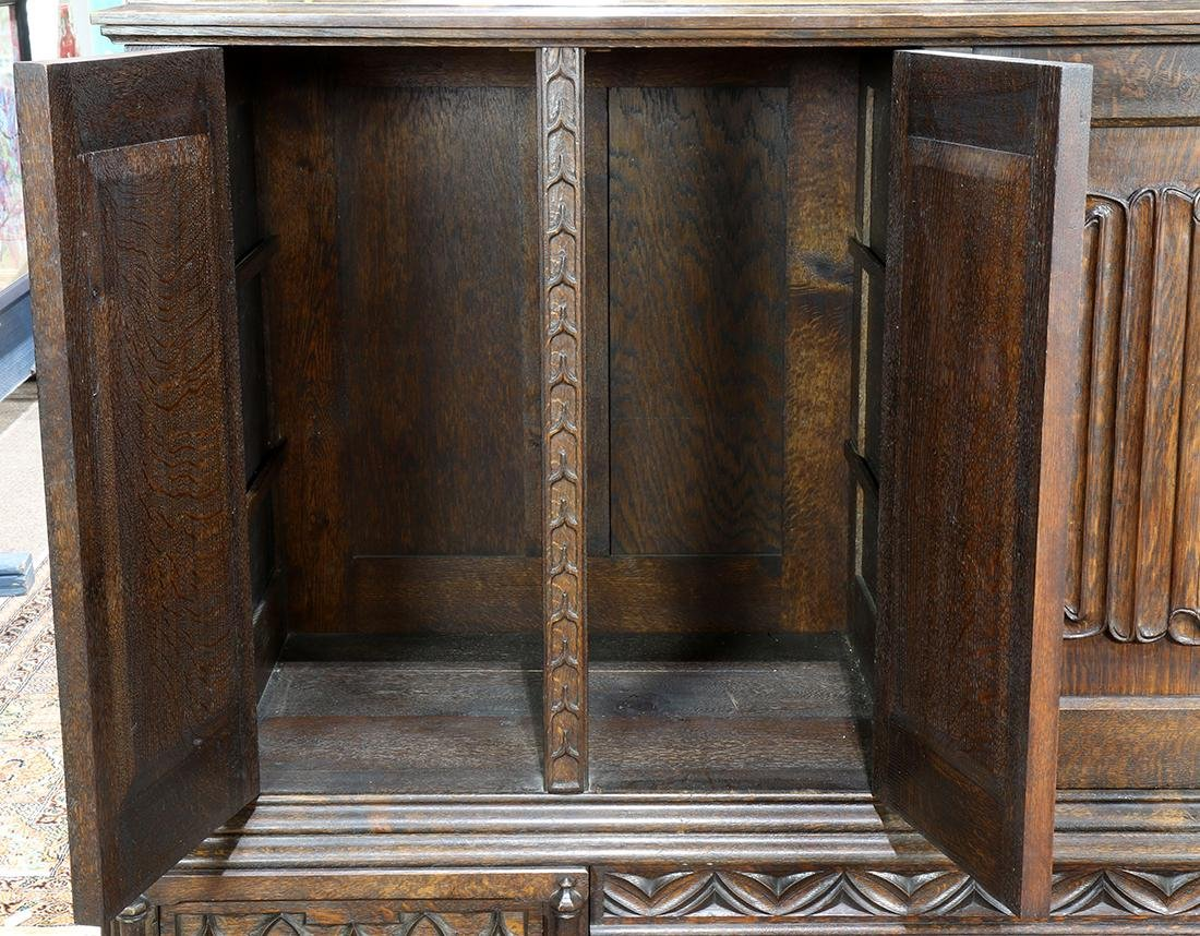 Gothic Revival carved quartersawn oak sideboard, circa - 4
