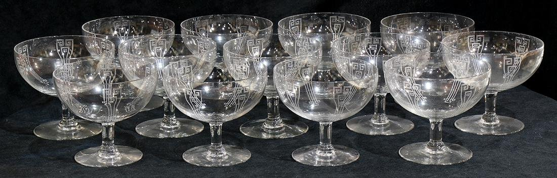 (lot of 13) Continental etched crystal dessert bowls