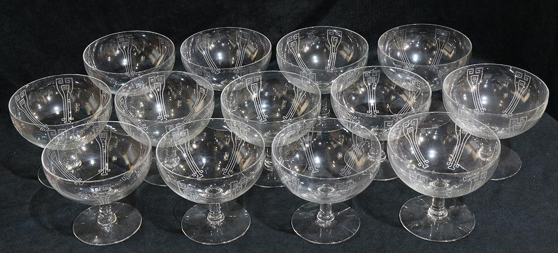 (lot of 13) Continental etched crystal dessert bowls - 2