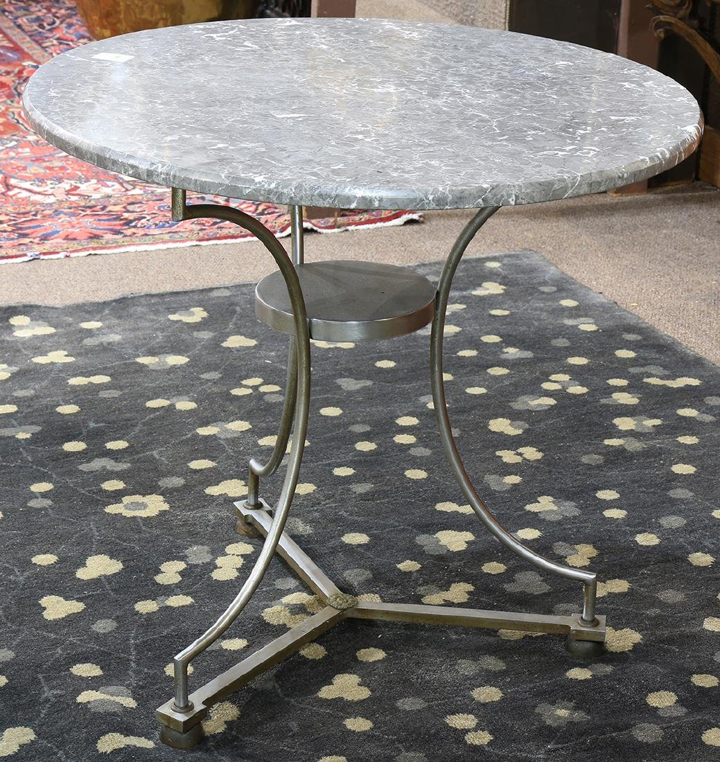 Contemporary brushed steel bistro table