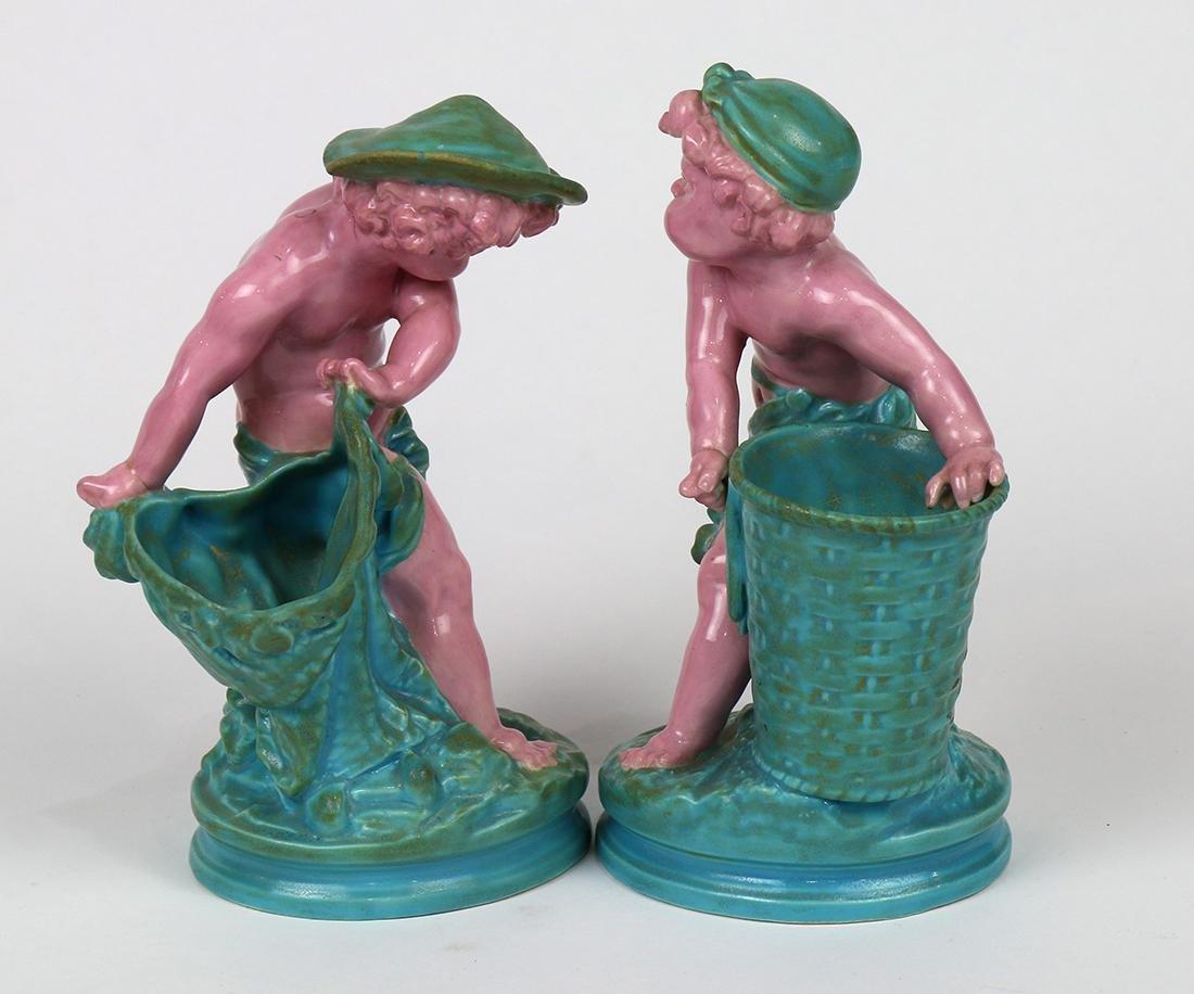 (lot of 2) Royal Worcester majolica figural sculptures