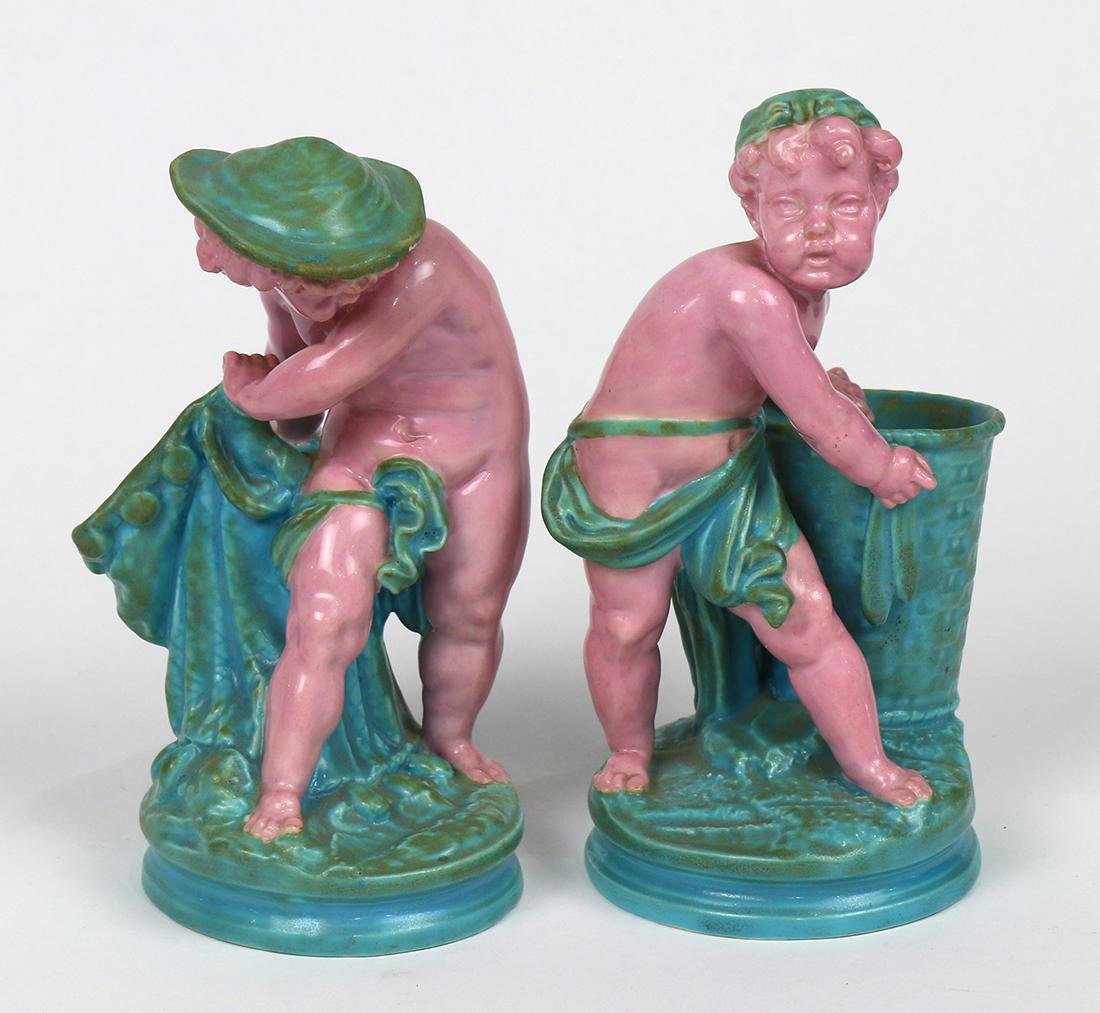 (lot of 2) Royal Worcester majolica figural sculptures - 2