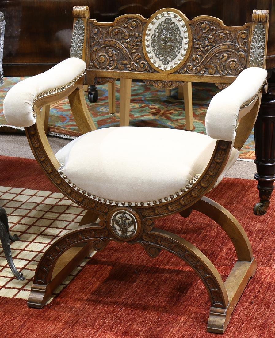 Continental savonarola style armchair