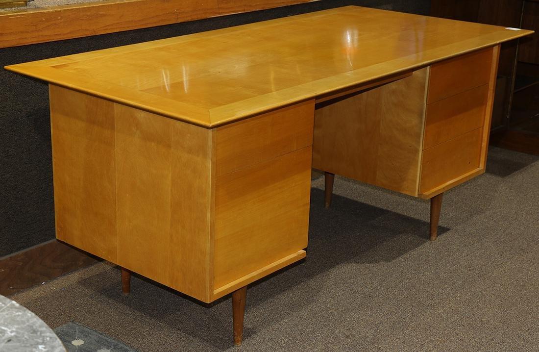 Mid-Century blondewood desk - 2