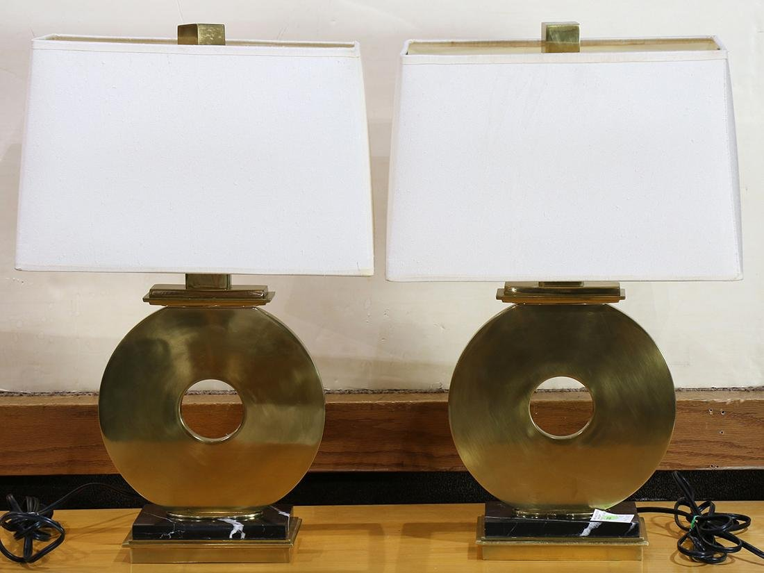 """Pair of Robert Abbey brass """"O"""" table lamps"""