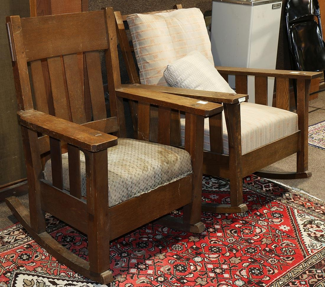 (lot of 2) Arts and Crafts oak chair group circa 1910