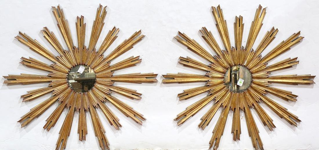 Pair of Hollywood Regency giltwood mirrors