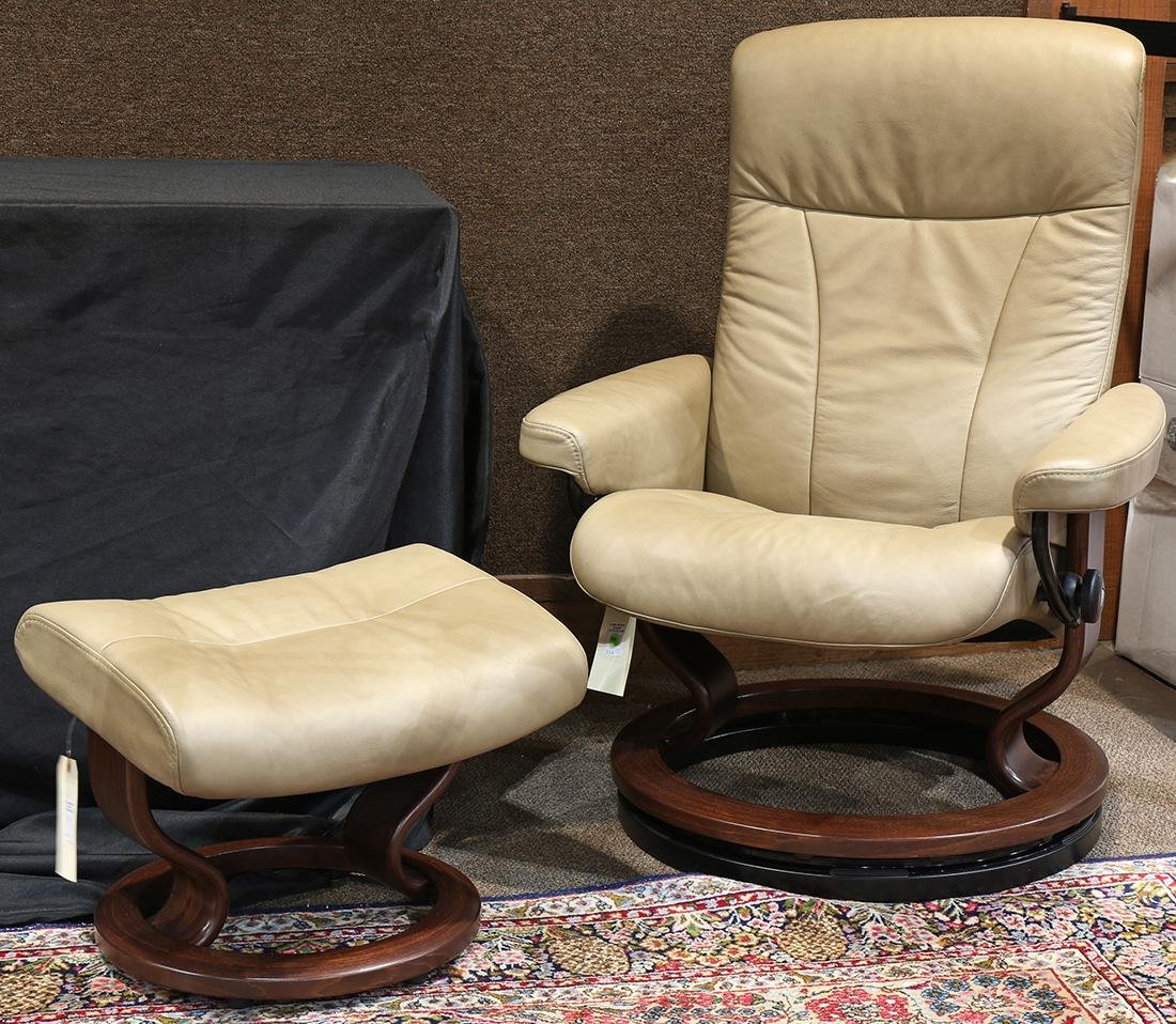 Norwegian leather lounge chair and ottoman