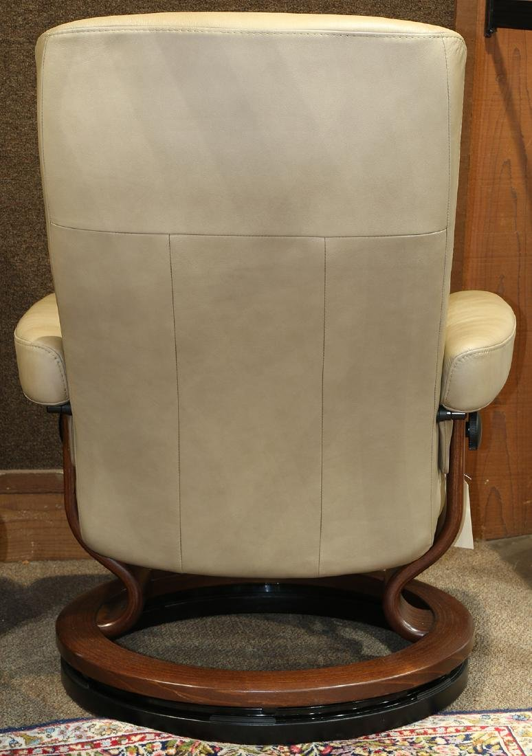 Norwegian leather lounge chair and ottoman - 3