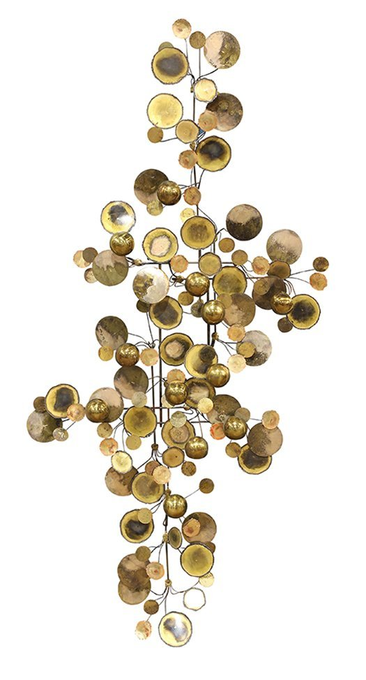 """Curtis Jere """"Raindrops"""" brass and steel wall sculpture"""