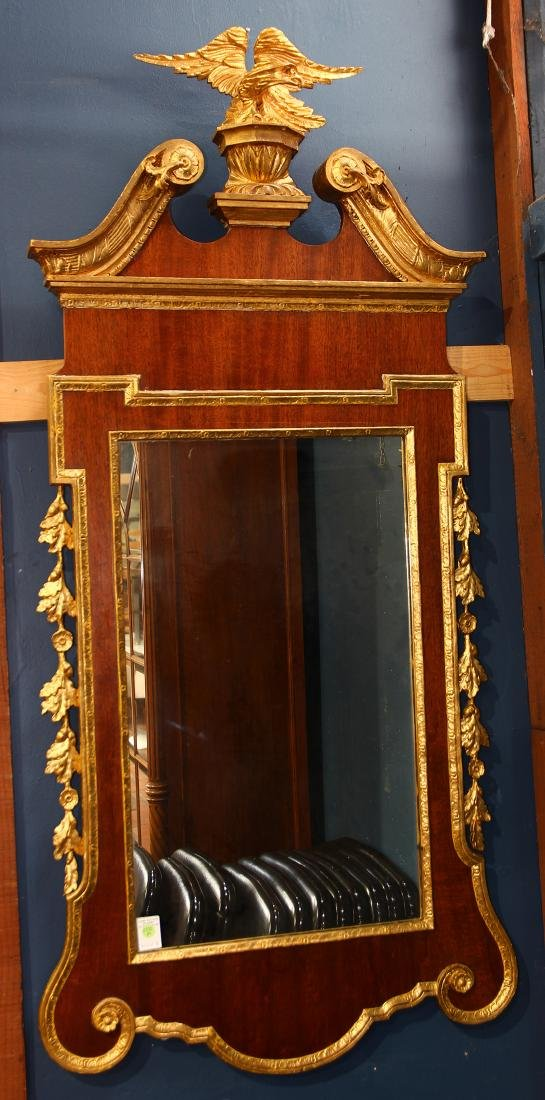 Period Federal looking glass, having a giltwood eagle