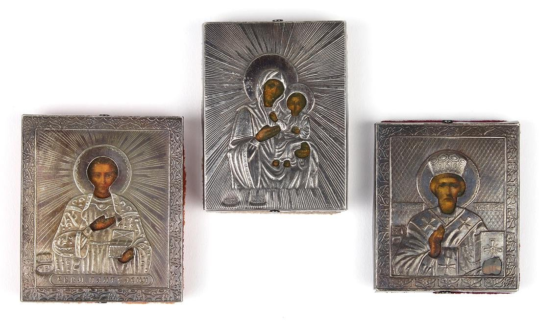 (lot of 3) Russian traveling icons, each having silver