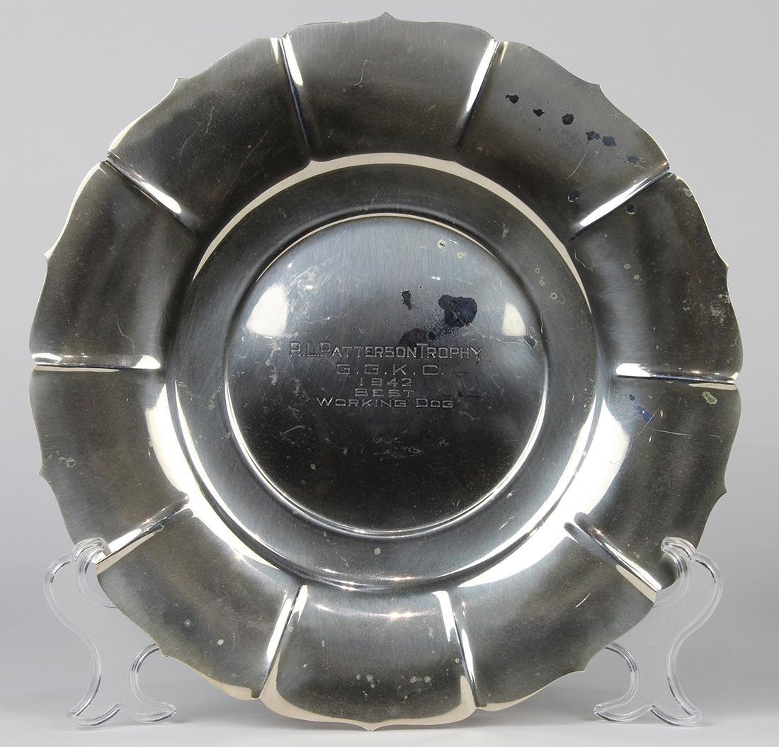 Giralda sterling silver trophy platter, the engraved