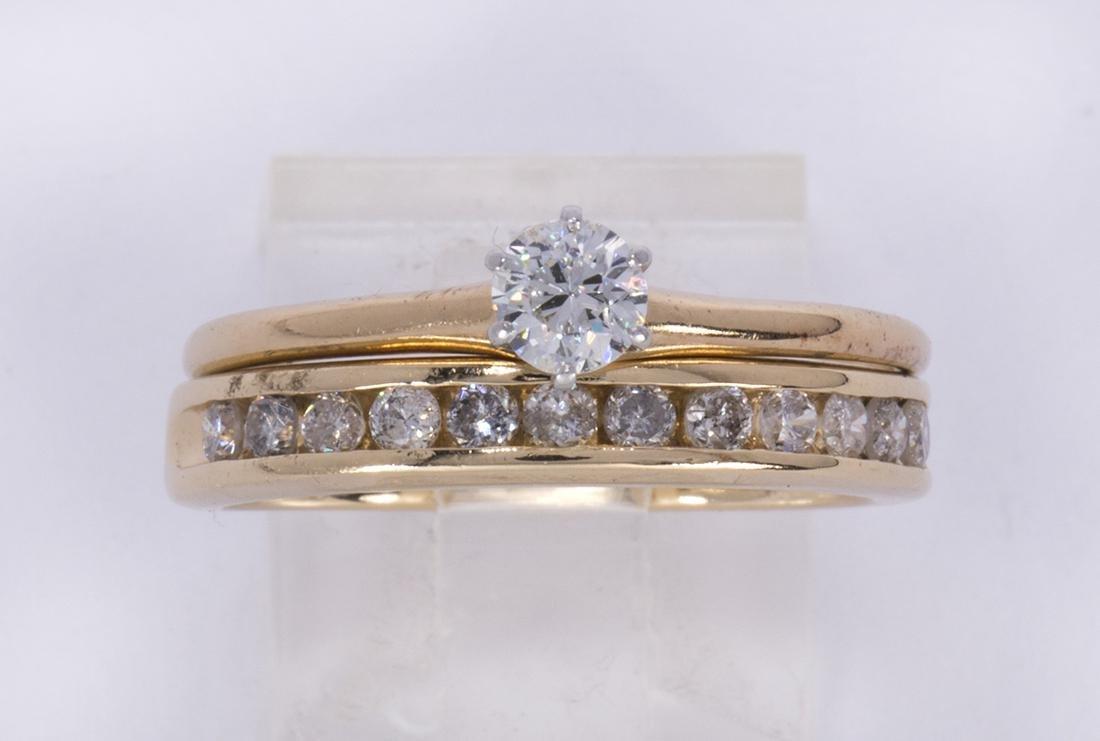 Diamond and 14k yellow gold ring set