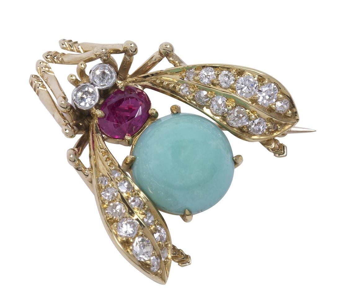 Van Cleef & Arpels turquoise, ruby, diamond and yellow