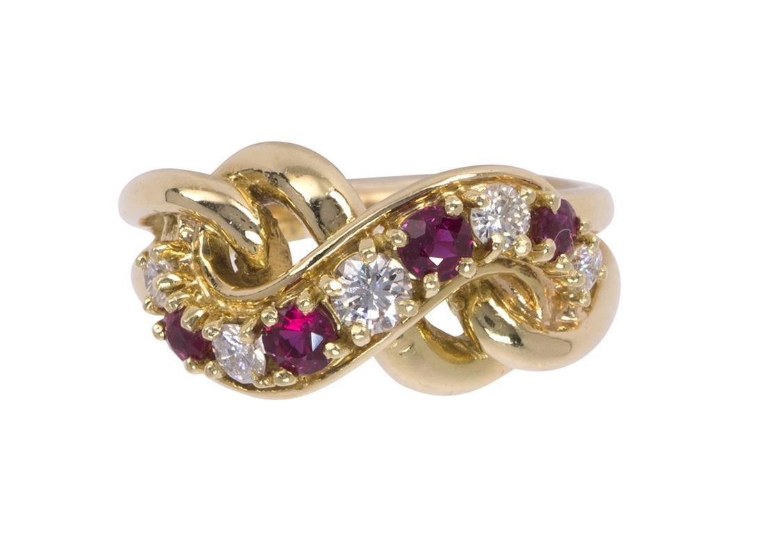 Cartier ruby, diamond and 18k yellow gold ring